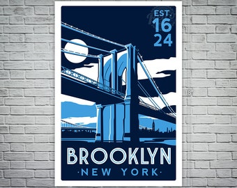 Brooklyn Bridge New York City skyline retro Screen Print poster