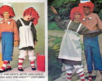 McCalls 5254  - Raggedy Ann and Raggedy Andy Halloween Costume Sewing, Sizes 10 and 12, 29.5 to 30 Inch Bust/Chest, Costume Pattern
