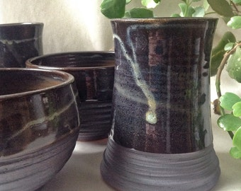 Ready to ship, Cup and Bowl set for two, hand thrown and carved pottery