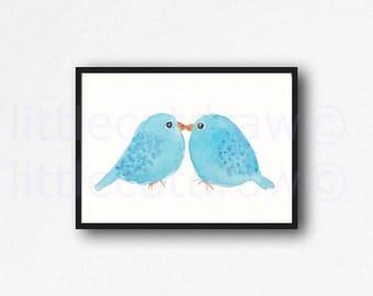 Bird Print Kissing Blue Birds Watercolor Painting Print Bird Wall Decor Nursery Wall Art Nursery Decor Home Decor Bird Lover Gift