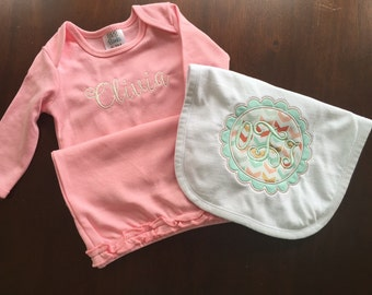 Monogrammed Baby Girl Pink Gown with Matching Bib