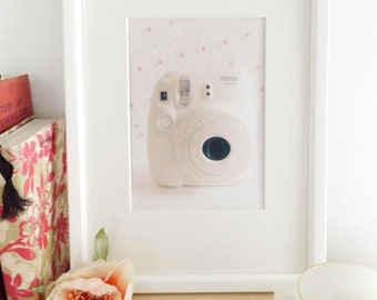 instant camera photograph / retro/ still life photography / pastel / home decor / wall art / white/ geometric / fine art photography