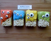 MONSTER Rice Krispys (12) - MONSTER Birthday/Monster Bash/Monster Party Favors