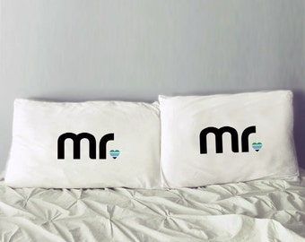 Gay Men Gift | Mr and Mr Pillowcases | Gay Wedding Gift | Mr and Mr Gift Idea