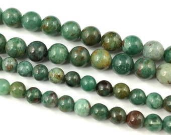 Natural Green African Jade Beads, Wholesale Gemstone Beads, Round Stone Beads, Green Beads For Jewelry Making 6mm 8mm 10mm 15''