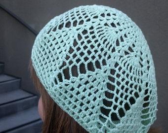 Crochet summer beret, Handmade beret, Women's lace beret