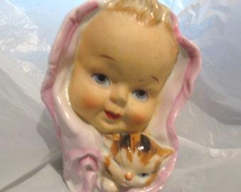 GIRL CAT Head Vase Planter Kitten