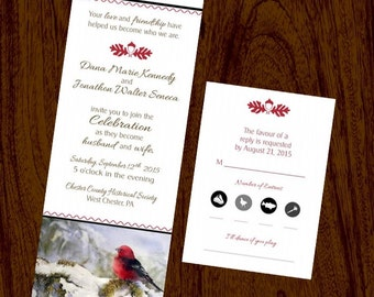 Wedding Invitation & RSVP Card Cardinal