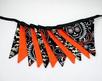 Halloween Orange Black Skulls Bats Pennant Banner Bunting