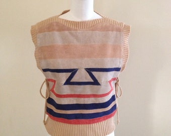 Vintage Suede and Knit Sweater Vest  Size Small