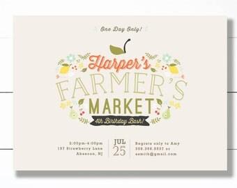 Farmer's Market Birthday Party Invitation, Country Farm Picnic Party- Printable