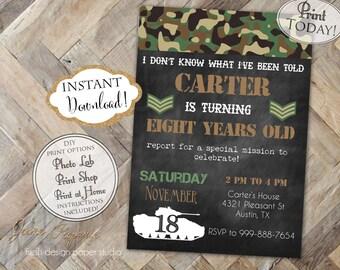 INSTANT DOWNLOAD - Army Birthday Invitation - Army Tank Camo Camouflage Birthday Invite - Boy Birthday - 0196