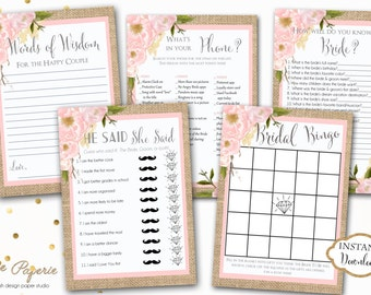 INSTANT DOWNLOAD - Burlap Pink Floral BRIDAL Games Package - Printable Bridal Shower Games - Floral Game Pack - Burlap Bridal Shower - 0166