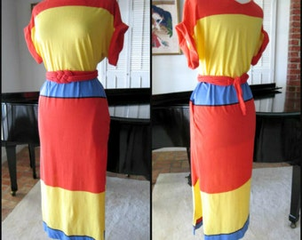 Clovis Ruffin Boutique 70s Maxi Dress / Clovis Ruffin Colorblock Maxi Dress / fits S