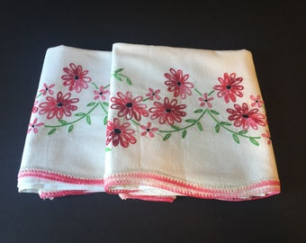 Vintage Floral Embroidered Pillow Cases, Handmade Queen Pillow Cases, Flower Pillow Cases, Vintage Linens, Vintage Bedding, Shabby Chic