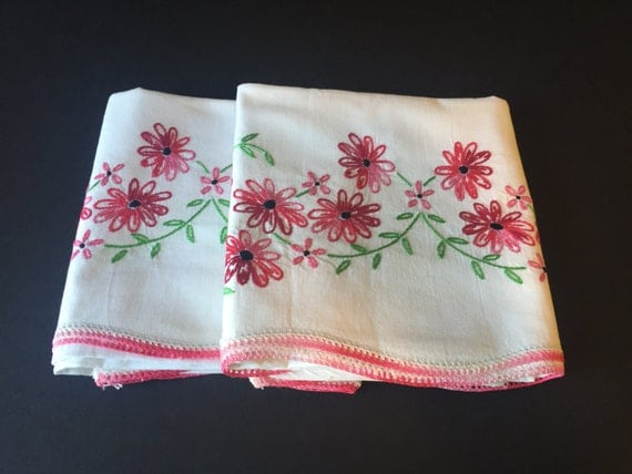 Vintage floral embroidered pillow cases by girlgoesvintage