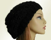 Black SLOUCHY Hat Crochet Knit Wool Soft Slouchy Beanie Slouch Beany Women Hats Accessories Teen Hat