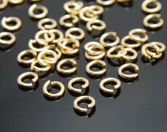 Jump ring, J22-G4, 50g, 1mm thick, Inner 3mm, Matte gold plated brass