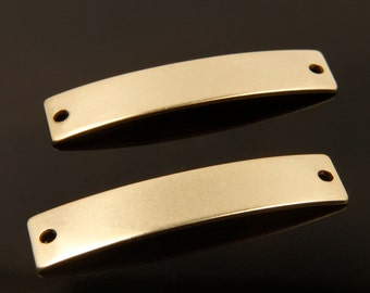 Curved raw brass bar, RBB-B1, 30 pcs, 2 holes, Rectangle, 39x8mm, Almost 14K look thanks to high quality hand buffing & secondary coating