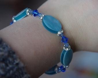 Beautiful blue stone and swarovski bracelet