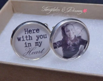 Here with you in My Heart- Memorial Photo Cuff Links - Personalized Cuff Links- Photo Cufflinks - Wedding Cufflinks - UK