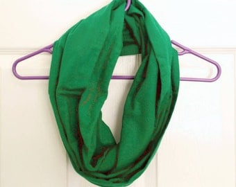 Green Flannel - 100% Cotton Eternity Scarf -  Handmade
