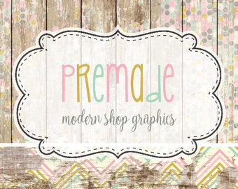 Premade Modern, Weathered Worn Wood Shop Graphics, Facebook, Etsy Set, Etsy Cover Photo, modern Logo, Branding