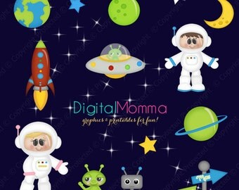 Cute Outer Space, Astronaut Friends Clipart, Personal & Commercial Use, Instant Download!