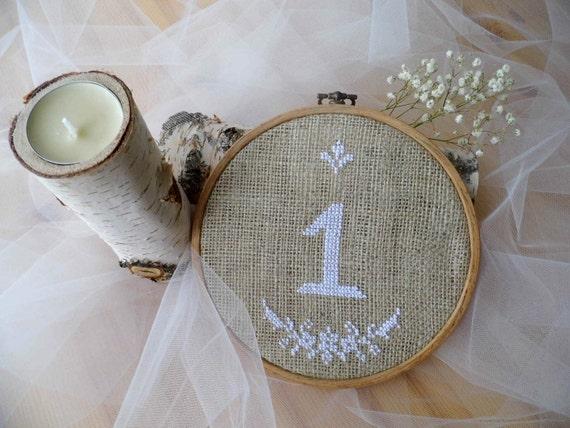 Wedding Table Number Hoop Embroidery Wedding Table
