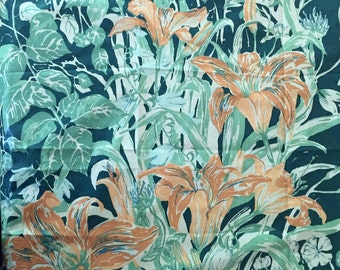 Greeff Floral Fabric Sample, Aqua with Daylilies, Spring Symphony, Vintage Decorator Fabric Sample, Sewing Craft Pillow Supplies