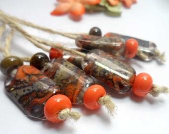 Lampwork  Glass bead handmade  Beads orange  brown.