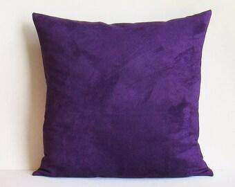 Purple Suede Pillow Cover Decorative Throw Royal Purple Eggplant Accent  Sofa Lumbar 16x16 18x18 20x20 22x22