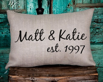 Personalized WEDDING Gift BURLAP PILLOW Cover-  Pillow with Couple's Name & Established Date
