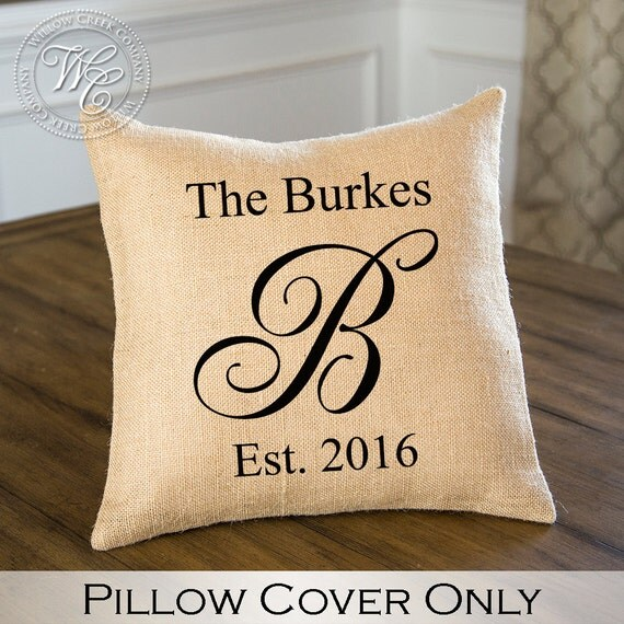 Personalized Pillows For Wedding Gift: BURLAP PILLOW Cover Personalized Wedding Gift PILLOW With