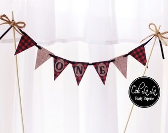 MADE TO ORDER Lumberjack Buffalo Plaid and Burlap Cake Bunting- personalized