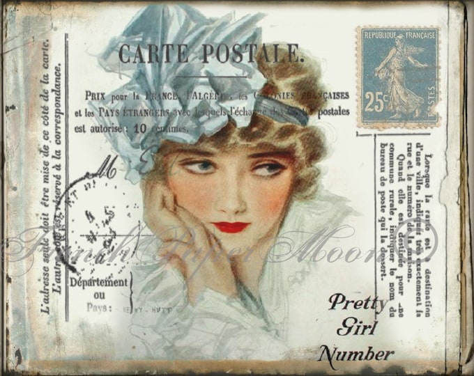 Digital Vintage, 1920s Lady with French Postcard Markings,Digital Postcard, French Pillow Transfer Image