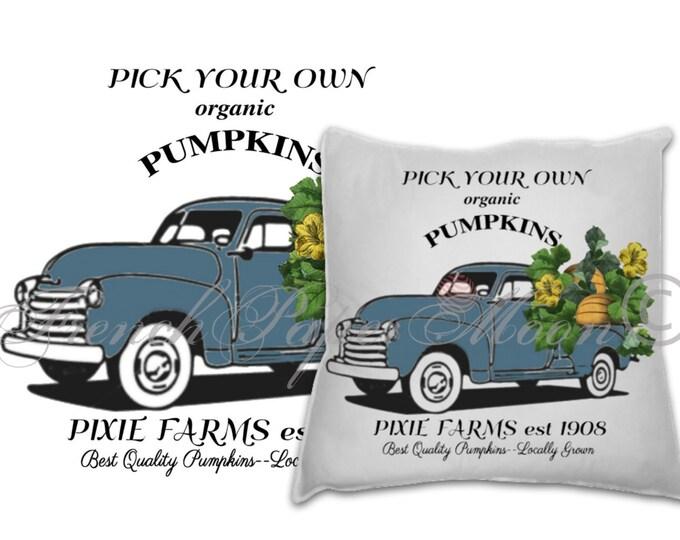 Vintage Digital Truck with Pumpkins, Large Instant Digital Download Printable, Farm Style Art Graphic Transfer Image