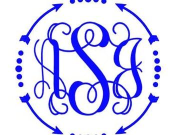 Arrow Vine Monogram Decal
