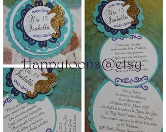 Under the sea quinceañera invitations/ Sweet sixteen invitations, wedding invitations. Sea themed invitations