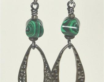 Malachite and Gunmetal Dangle Earrings