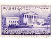 10 Unused Supreme Court Stamps // Washington D.C.  // 1950 Vintage Purple Three Cent Postage Stamps for Mailing