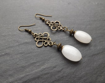 "Earrings ""adelia"" composed of quartz oval beads pink"