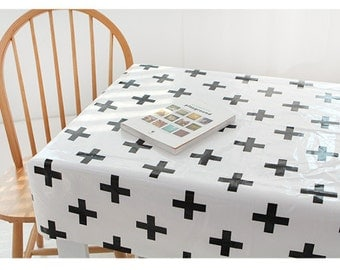 Laminated cotton linen Fabrics waterproof fabric by the yard oilcloth shine laminate   - black plus cross  - CH20042