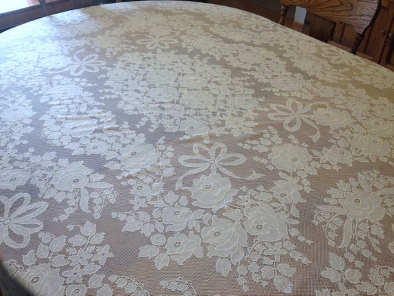 Vintage Quaker Lace Tablecloth, Roses Ribbons Creamy Ecru, Wedding Reception Dinner Table,  72 x 88 rectangle