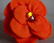 Orange Felt Flower Brooch, Flower Brooch, Felt Flower Pin, Felt Jewelry, Brooches.