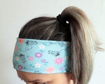 Yoga Headband - Workout Headband - Fitness Headband - Running Headband Boho Headband - Elastic Headband - Flowers and Bees Headband Y32