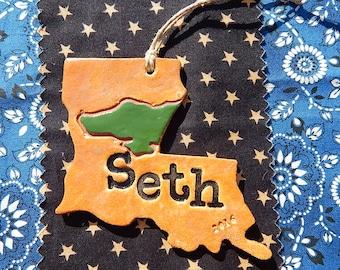 Personalized Louisiana Ornament, Louisiana Alligator Ornament