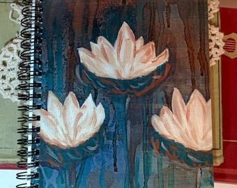 Three Lotus flowers - Spiral bound journal