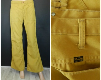 70's COTTON polyester twill Deadstock Wrangler Caramel Mustard Hippie Disco flares Bell bottoms  32X31''
