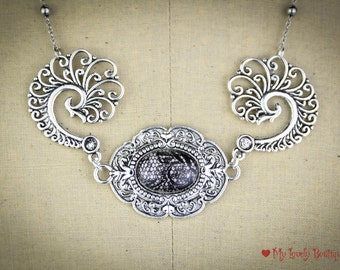 Lace Peacock - lace handpainted Cameo  - silver peacock necklace - elegant